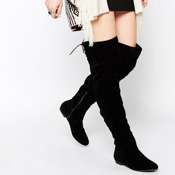 9e78c7b6c85 Lucy Flat Tie back thigh high black boot New